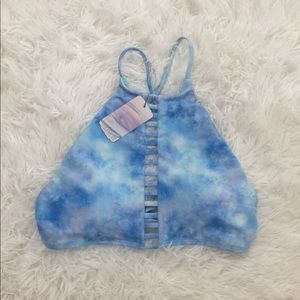 NWT Forever 21 Blue Tie Dye Swimsuit Top